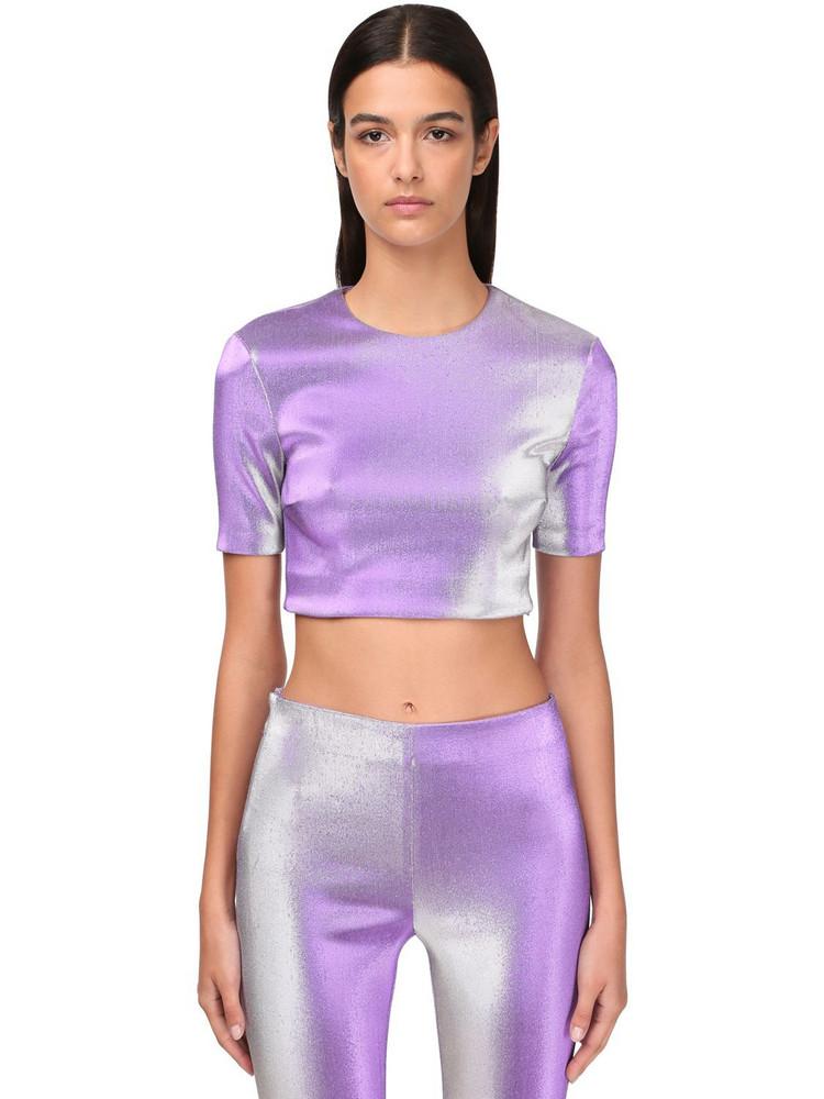 AREA Stretch Lamé Crop Top in purple