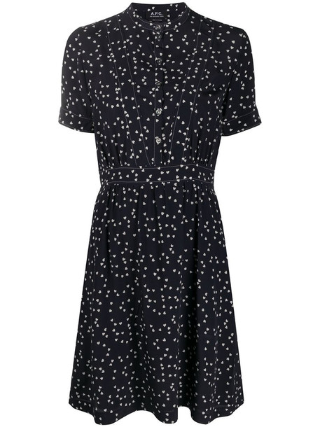 A.P.C. heart print dress in blue