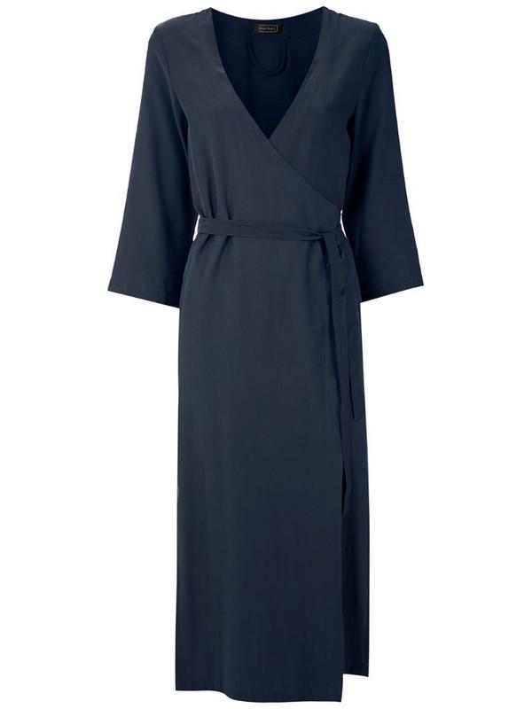 Haight side-slit wraparound dress in blue
