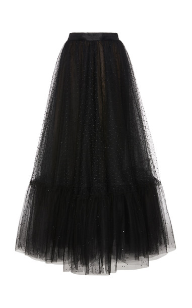 Marchesa Embroidered Tulle Midi Skirt in black