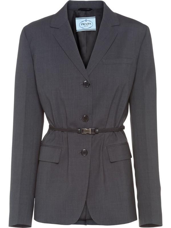 Prada belted blazer jacket in grey