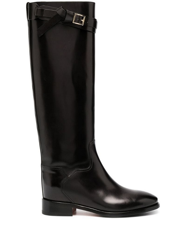 Santoni side-buckle knee-high boots in black