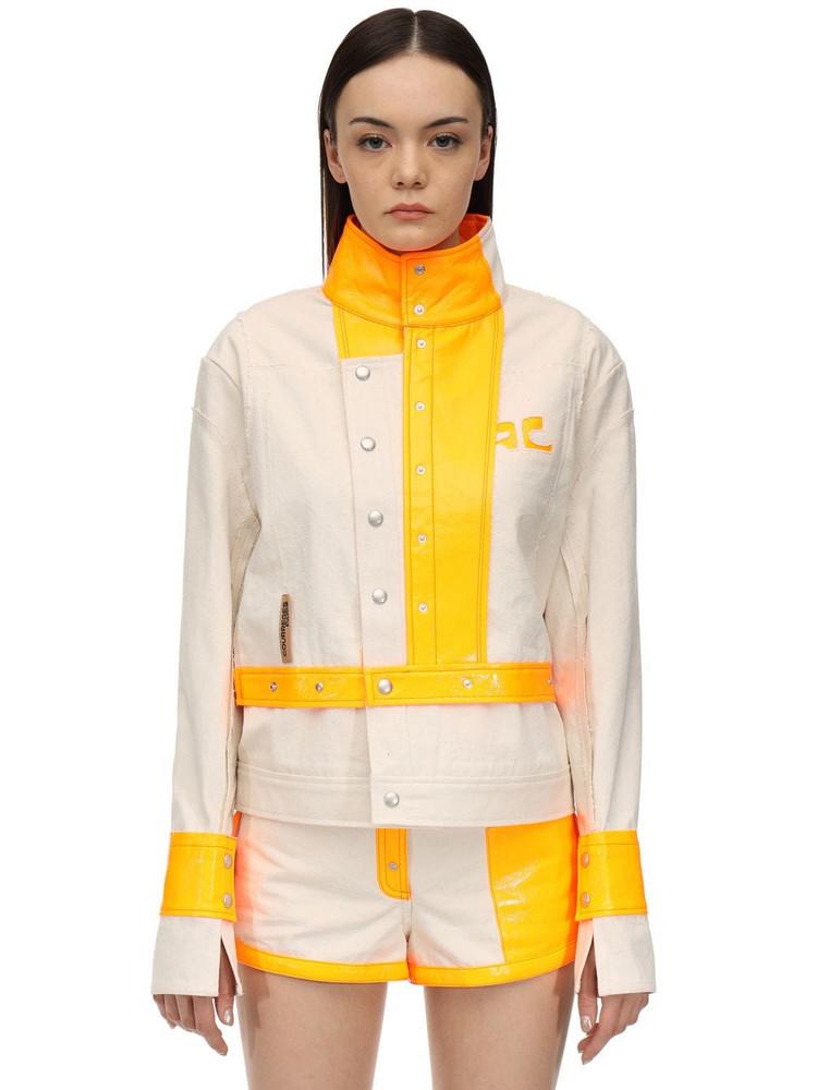 COURREGES Contrasting Cotton & Vinyl Jacket in ivory / orange
