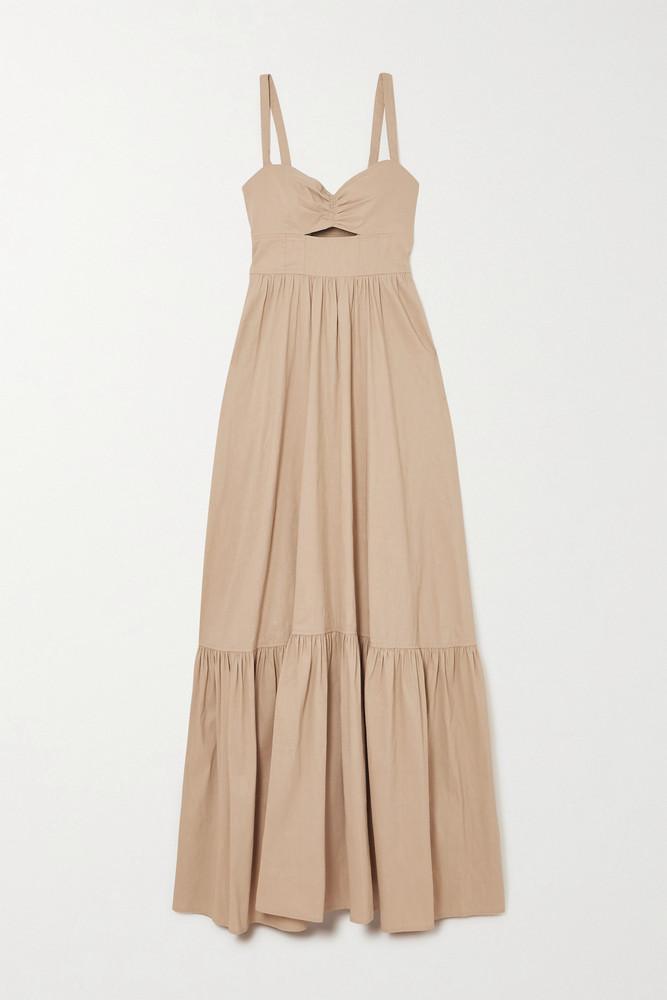 A.L.C. A.L.C. - A.l.c. X Petra Flannery Everly Cutout Smocked Linen-blend Maxi Dress - Neutrals