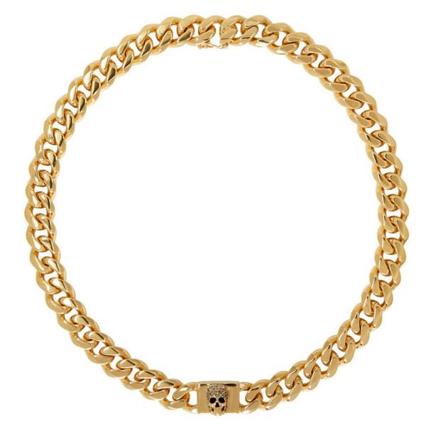 Alexander McQueen Gold Chain Skull Necklace