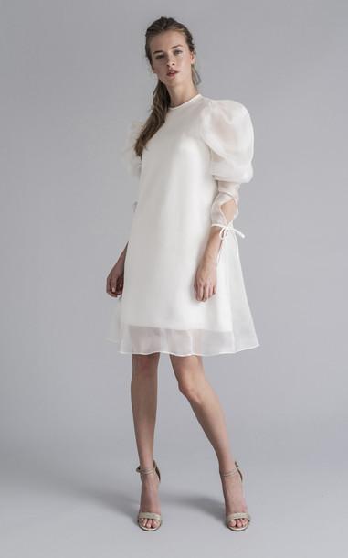 Sophie et Voila Mini Organza Puff Sleeve Dress Size: 34 in white