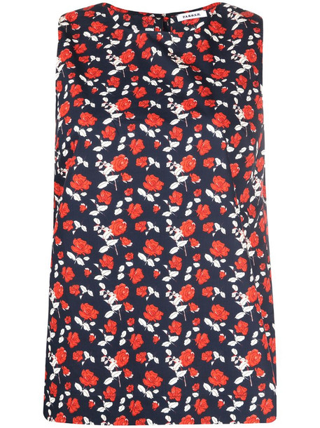 P.A.R.O.S.H. floral-print sleeveless cotton blouse in blue