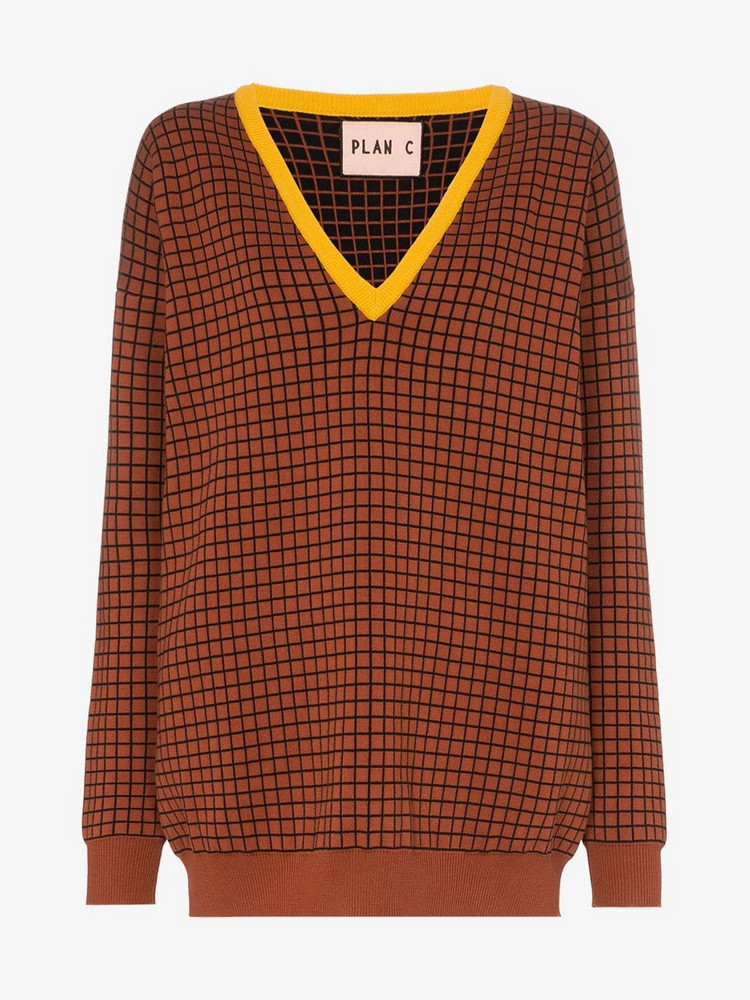 Plan C windowpane check V-neck cotton jumper in brown