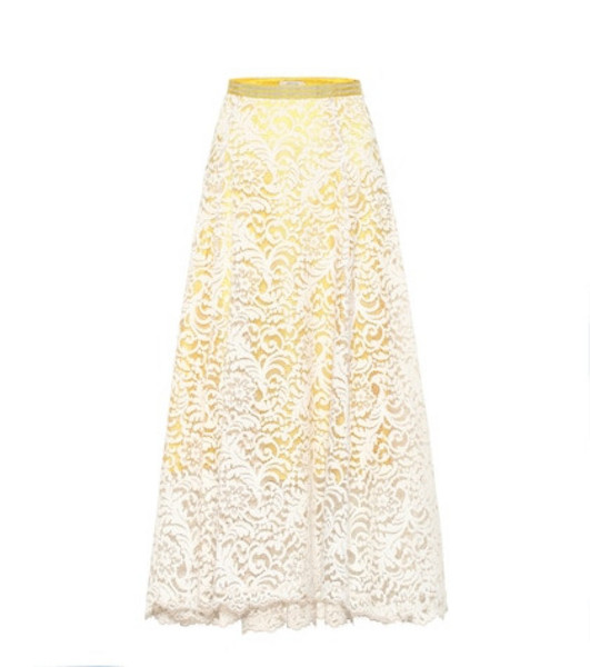 Dorothee Schumacher Irresistible Lace midi skirt in yellow
