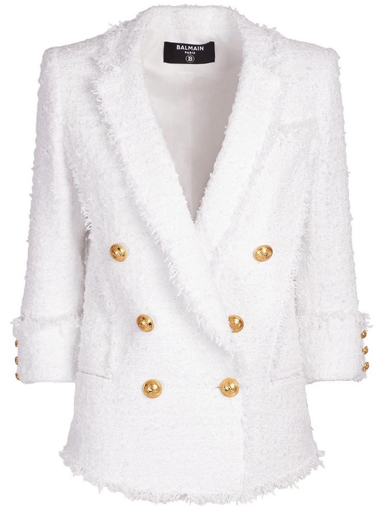 BALMAIN Cotton Blend Tweed Blazer in white