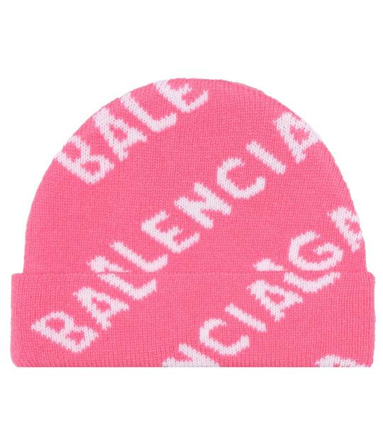 Balenciaga Intarsia wool beanie in pink