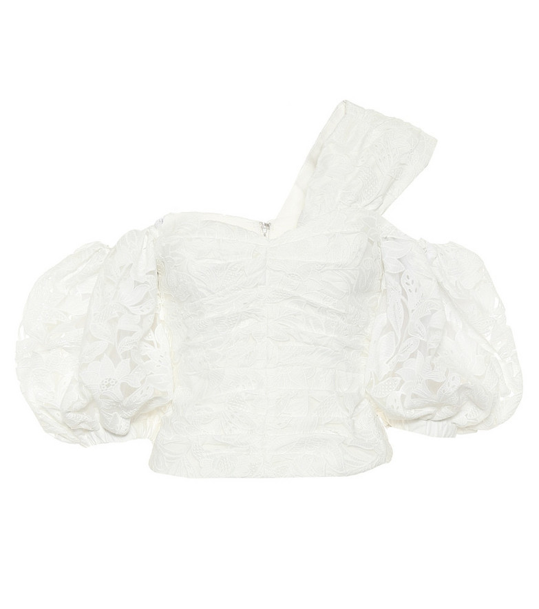 Self-Portrait Floral lace off-shoulder blouse in white