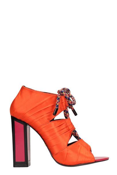 Kat Maconie Orange Satin Kiko Sandals