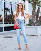 jeans,high waisted jeans,skinny jeans,sandals,ysl bag,red bag,white t-shirt