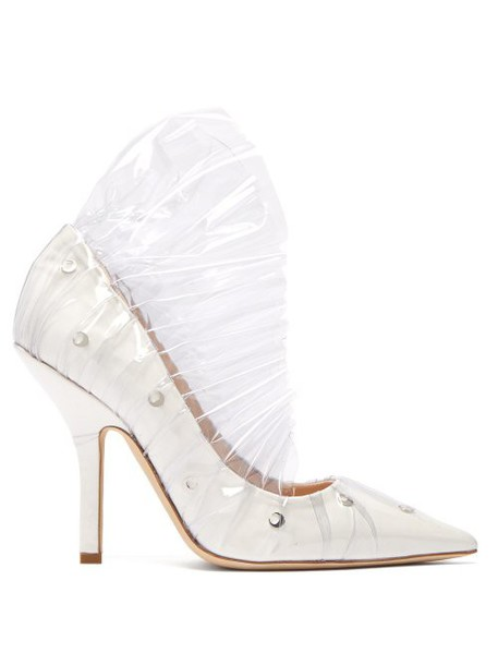 Midnight 00 - Shell Crescent Leather And Pvc Ruffle Pumps - Womens - White