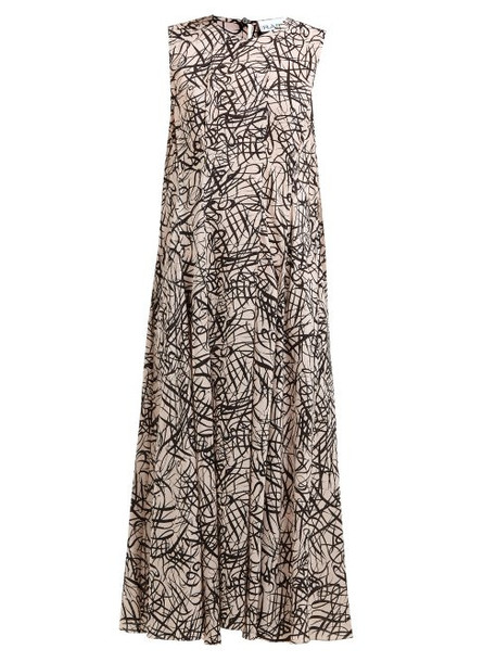 Raey - Darted Squiggle Print Silk Dress - Womens - Pink Print