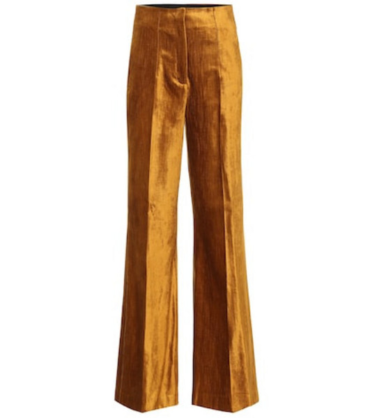 Dorothee Schumacher Glamorous wide-leg velvet pants in gold