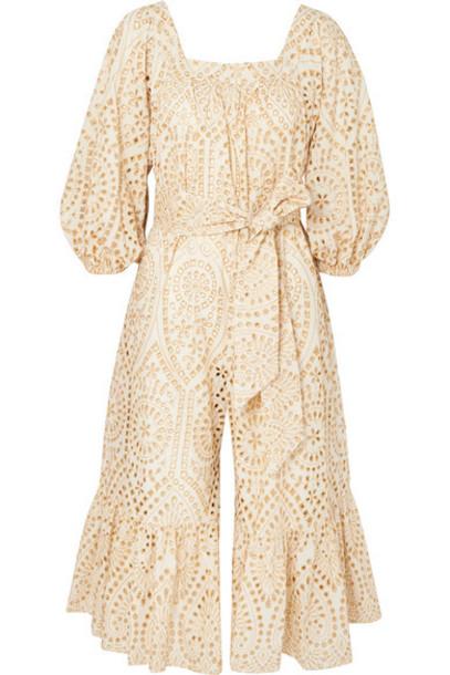 Lisa Marie Fernandez - Laure Broderie Anglaise Cotton Jumpsuit - Cream