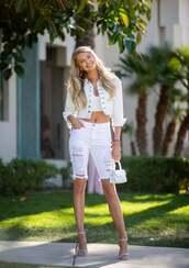 shorts,romee strijd,celebrity,model off-duty,all white everything,denim shorts,crop tops,jacket,denim jacket