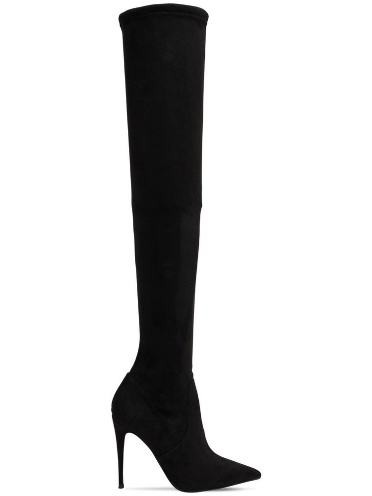 STEVE MADDEN 100mm Dade Stretch Faux Suede Boots in black