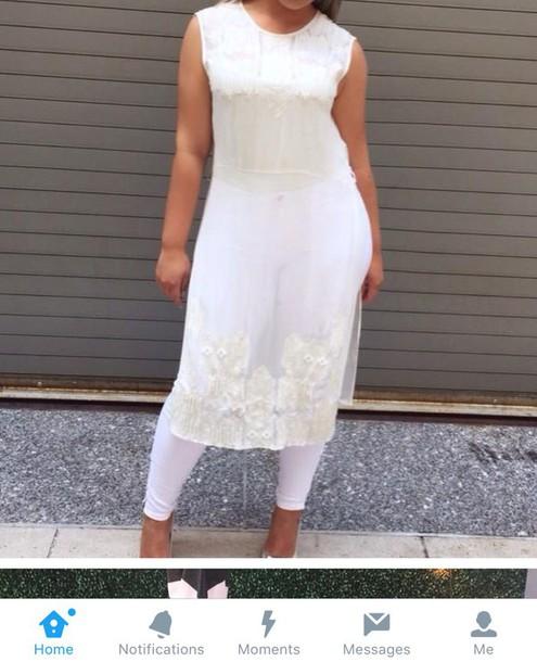 shirt white long sheer