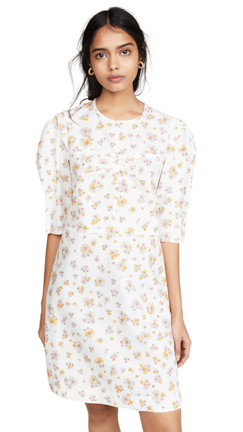 See by Chloe Puff Sleeve Floral Dress in white