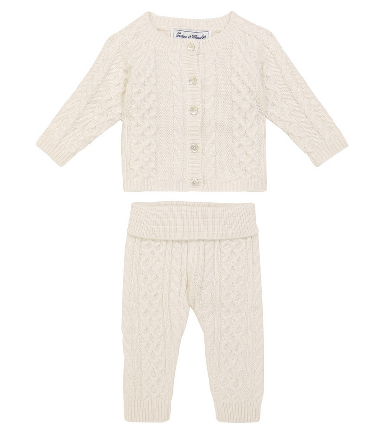 Tartine et Chocolat Baby cotton-blend cardigan and pants set in white