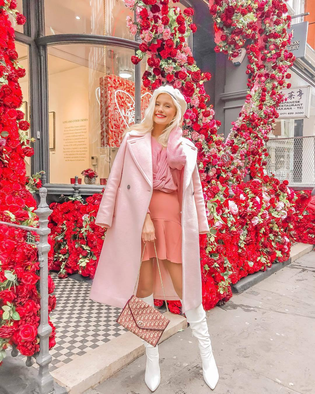 coat pink coat double breasted long coat white boots knee high boots heel boots mini skirt pink sweater cropped sweater beret pink bag dior bag