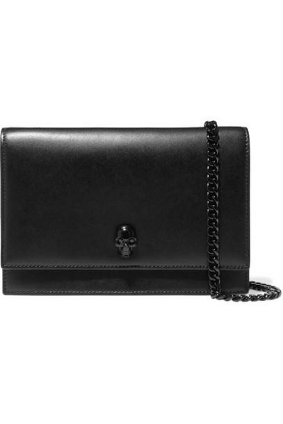 Alexander McQueen - Embellished Leather Shoulder Bag - Black