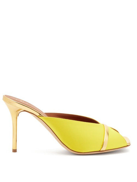 Malone Souliers - Lucia Square-toe Satin And Metallic-leather Mules - Womens - Yellow