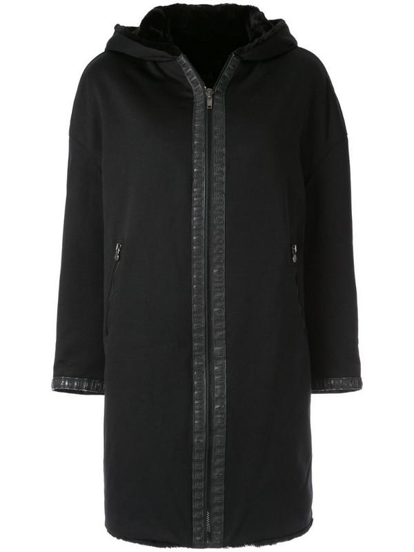 Fendi Pre-Owned hooded zip-up coat in black