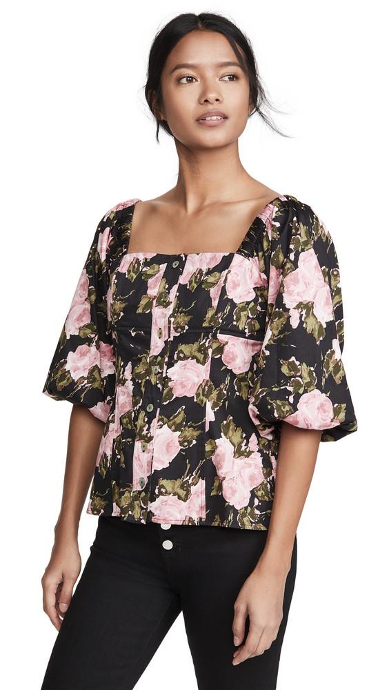 WAYF Aberdine Puff Sleeve Top in black / rose