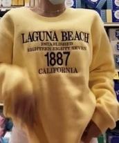 sweater,yellow sweatshirt,laguna beach