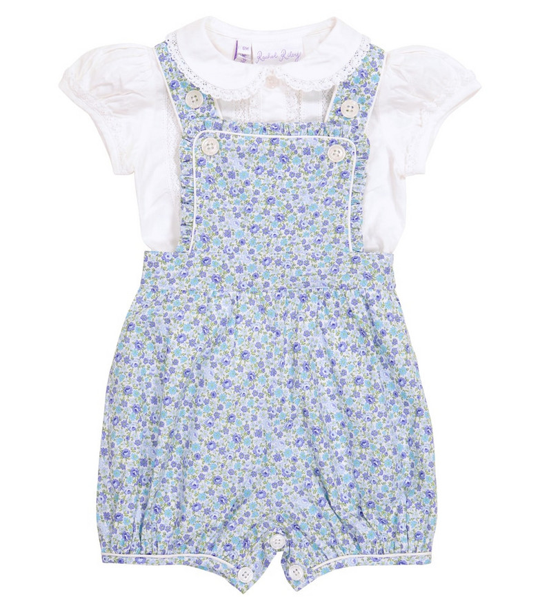 Rachel Riley Baby floral cotton bodysuit and blouse set in blue