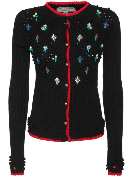 PHILOSOPHY DI LORENZO SERAFINI Embroidered Knit Wool Cardigan in black / multi