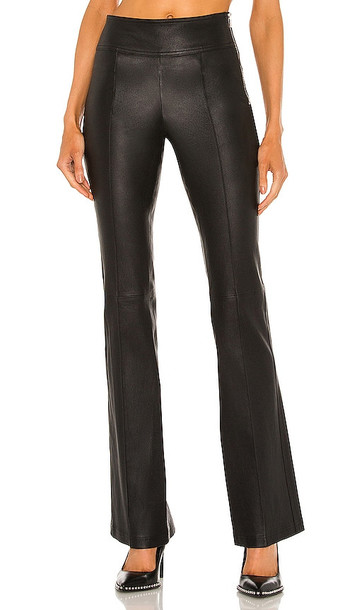 Helmut Lang Leather Bootcut Pant in Black