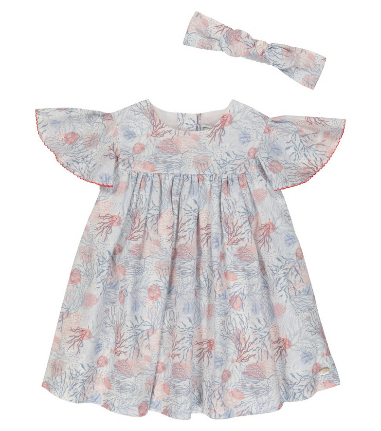 Tartine et Chocolat Baby printed cotton dress and hairband set in blue