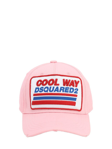 DSQUARED2 Patchwork Cotton Baseball Hat in pink
