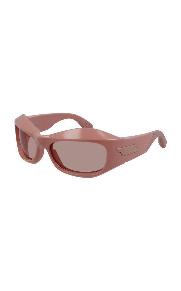 Bottega Veneta Exclusive Fashion Show Acetate Wrap-Around Sunglasses in pink