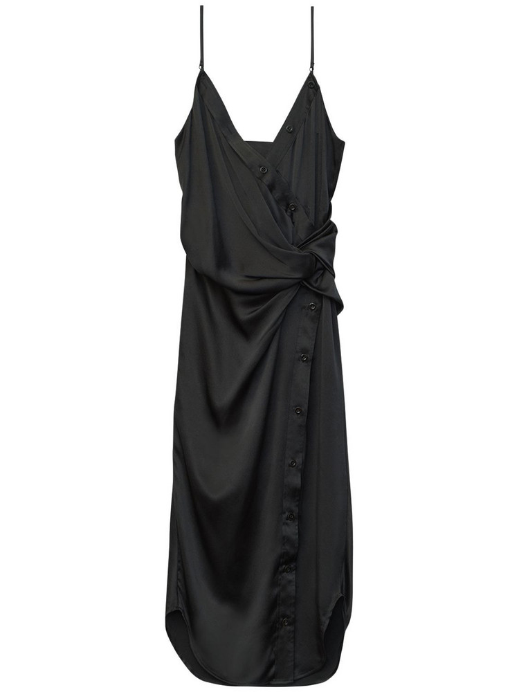 ALEXANDER WANG Draped Silk Satin Midi Dress in black