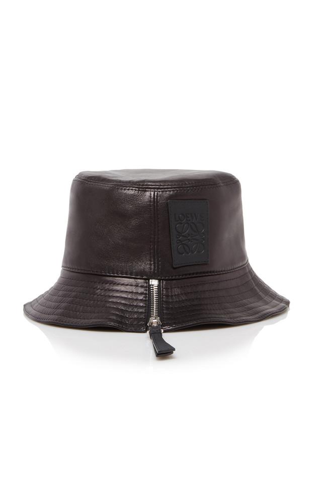Loewe Fisherman Zip-Detailed Leather Bucket Hat in black