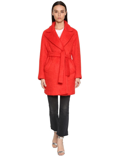 GIADA BENINCASA Mohair Blend Midi Coat in red