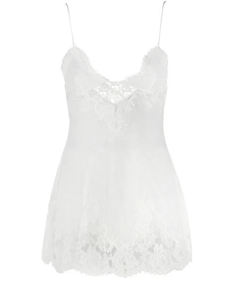 LA PERLA Lawinia Rose Lace & Silk Slip Dress in white
