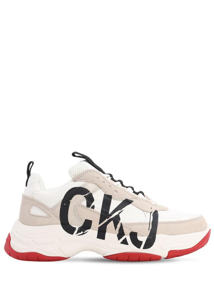CALVIN KLEIN JEANS 40mm Marleen Suede & Mesh Sneakers in white / beige