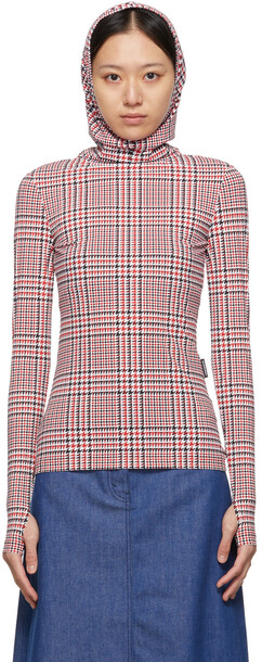 Burberry Red & White Houndstooth Belle Fitted T-Shirt