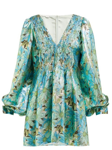 Stella Mccartney - Gianna Floral Print Lamé Dress - Womens - Green Multi