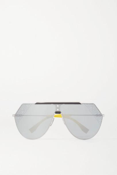Fendi - Aviator-style Silver-tone And Acetate Mirrored Sunglasses