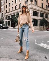 jeans,skinny jeans,ripped jeans,ankle boots,sweater,bag