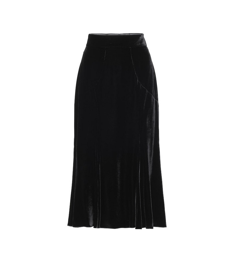 Dolce & Gabbana High-rise velvet midi skirt in black