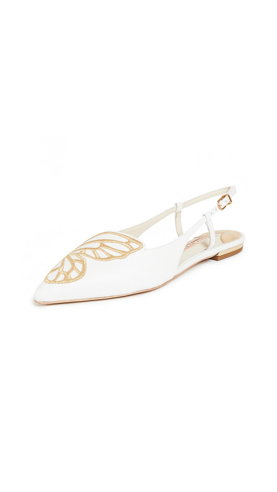 Sophia Webster Butterfly Embroidery Slingbacks in gold / white